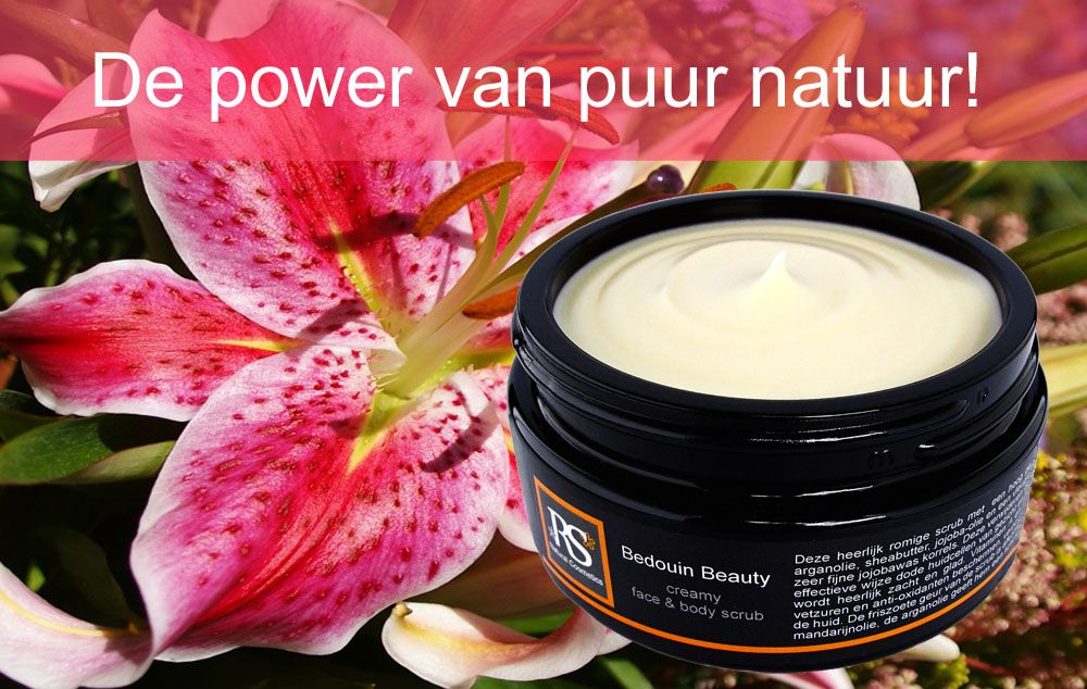 Zo heerlijk! Zachte romige face & body scrub van RS Natural Cosmetics, met heel veel sheaboter, arganolie, jojoba-olie, wilde soja en een fijn korreltje van jojoba-was. Super voor gezicht en lichaam, want de korrel krast niet en is heel lief voor de huid!