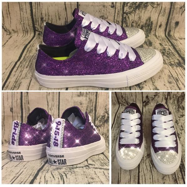 Women s Sparkly Glitter converse all star Crystals royal Purple plum  regency shoes prom cheerleader sneakers wedding bride bridal tennis shoes baa260420