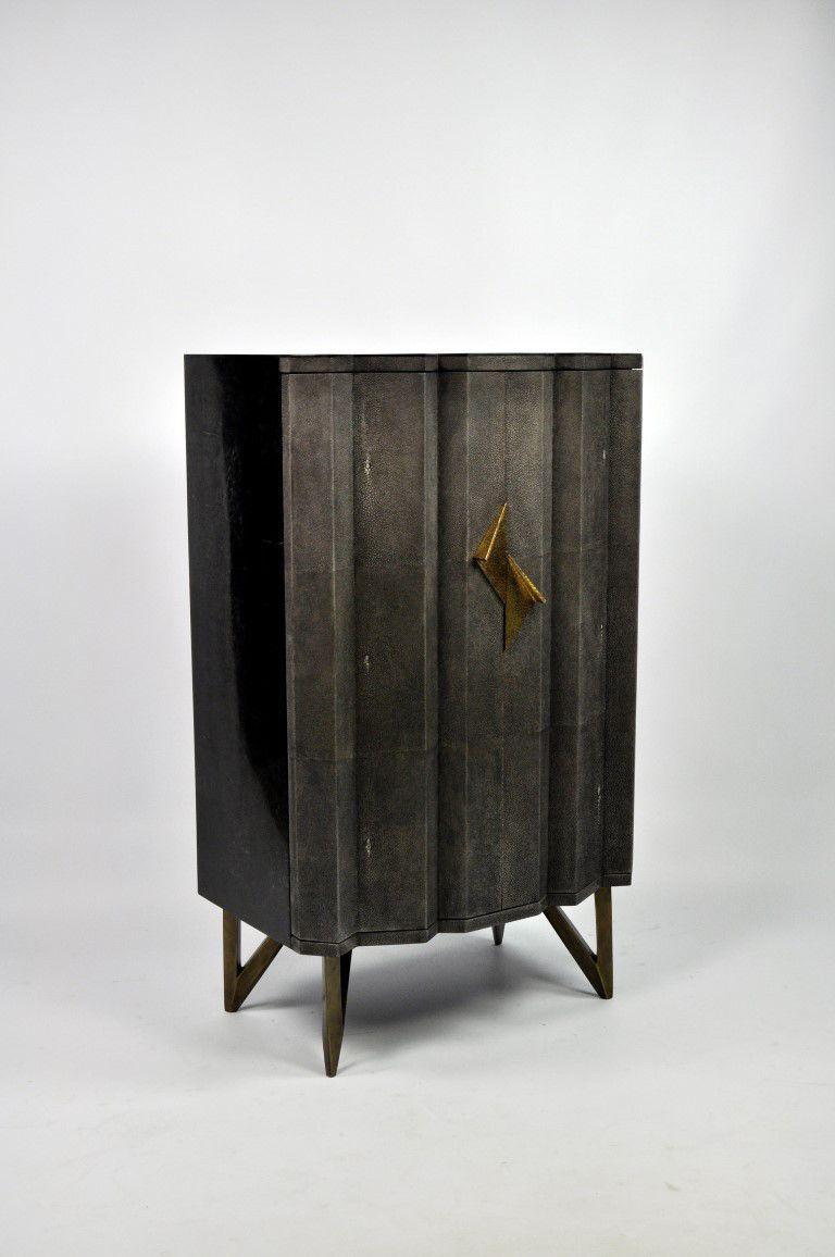 Ginger Brown France Galuchat Shagreen Furniture Cabinets Mobilier De Salon Placard Mobilier Marron