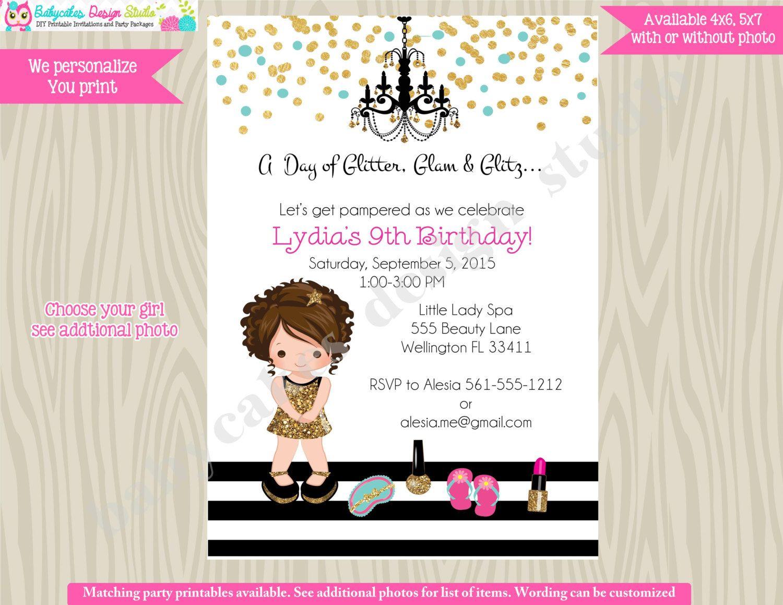 Glamour Party Invitation invite Spa party birthday invitation pamper ...
