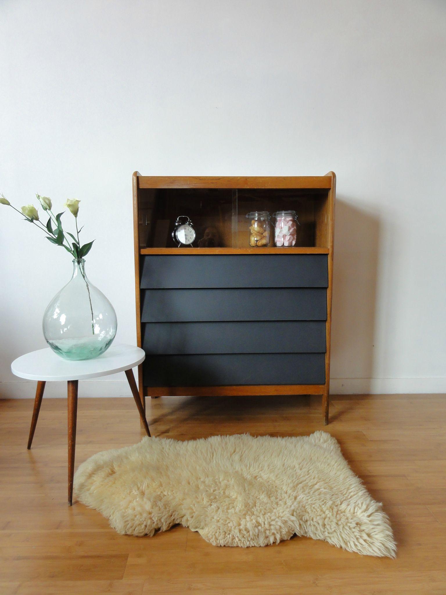 grande commode 60 39 s black wood vintage emoi. Black Bedroom Furniture Sets. Home Design Ideas