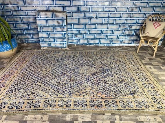 Morocco Vintage Rug Home living Home decor Antique rug Boujad Area carpet 7X10 3 FT