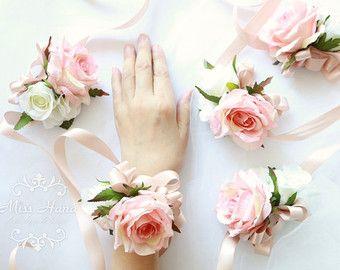 Blush Pink Rose Wrist Corsage Bridesmaid Corsage Pearl Corsage