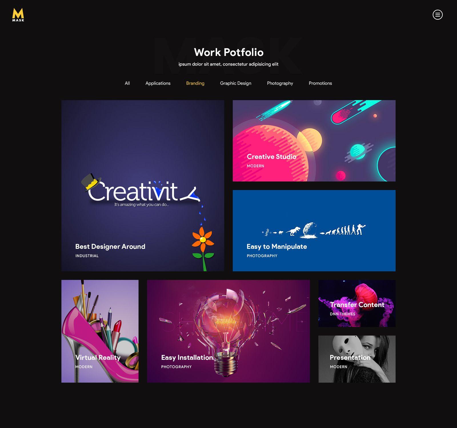 Mask personal cv resume portfolio vcard psd template