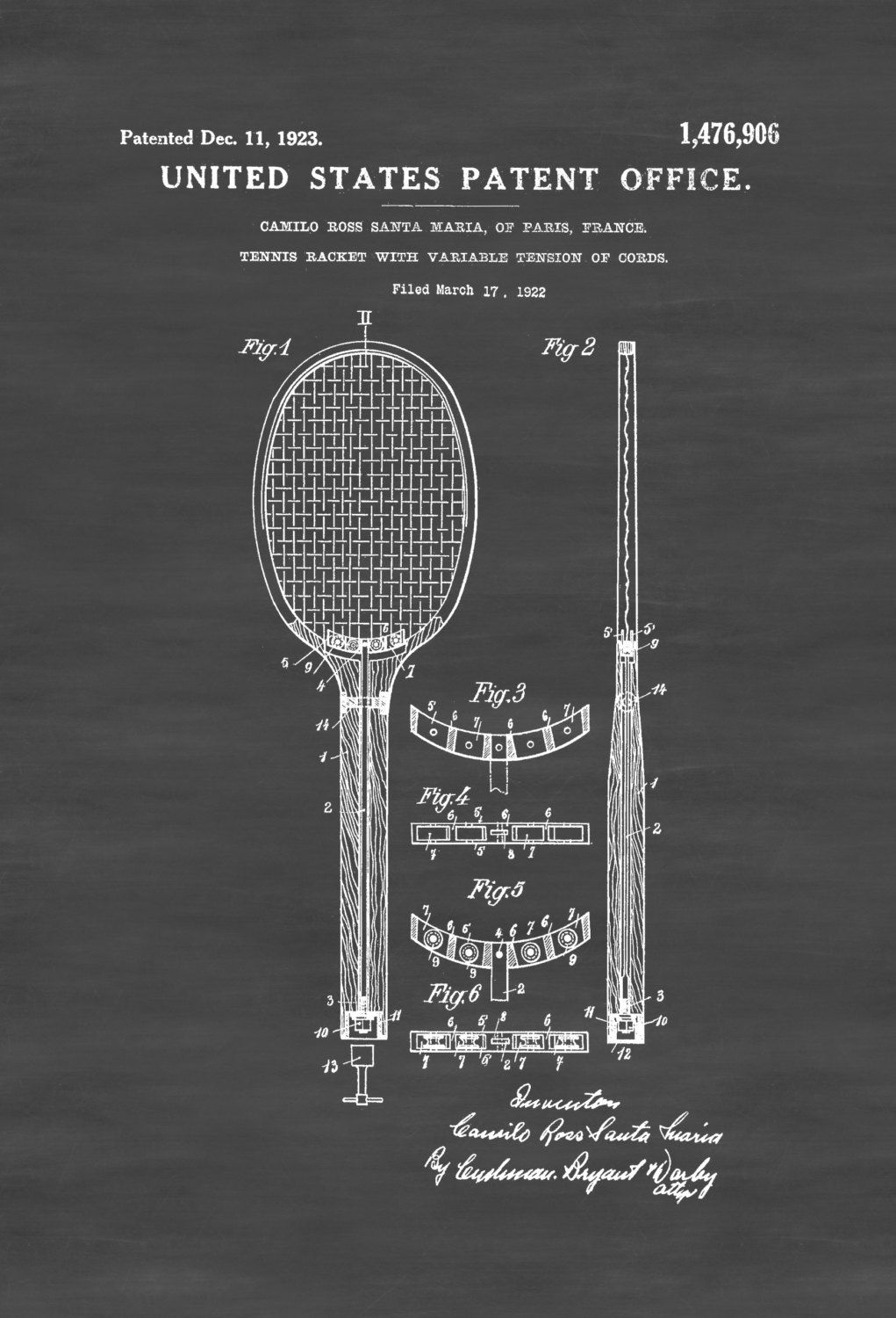 Tennis Racket Patent Print Wall Decor Art Parts Of A Racquet Detailed Description And Diagram Blueprint Player Gift 499 Usd Poster With Variable Tension