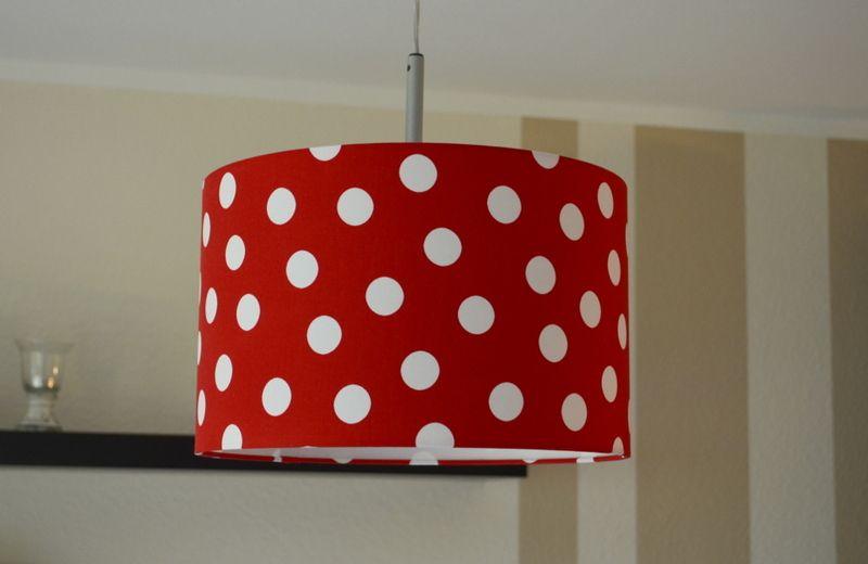 Lampenschirm rot mit weißen Punkten (Ø=2,5cm)