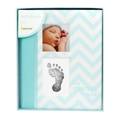 Pearhead First 5 Years Chevron Baby Memory Book with Clean-Touch Baby Safe In...