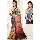Awesome Beige, Brown & Blue Printed Saree