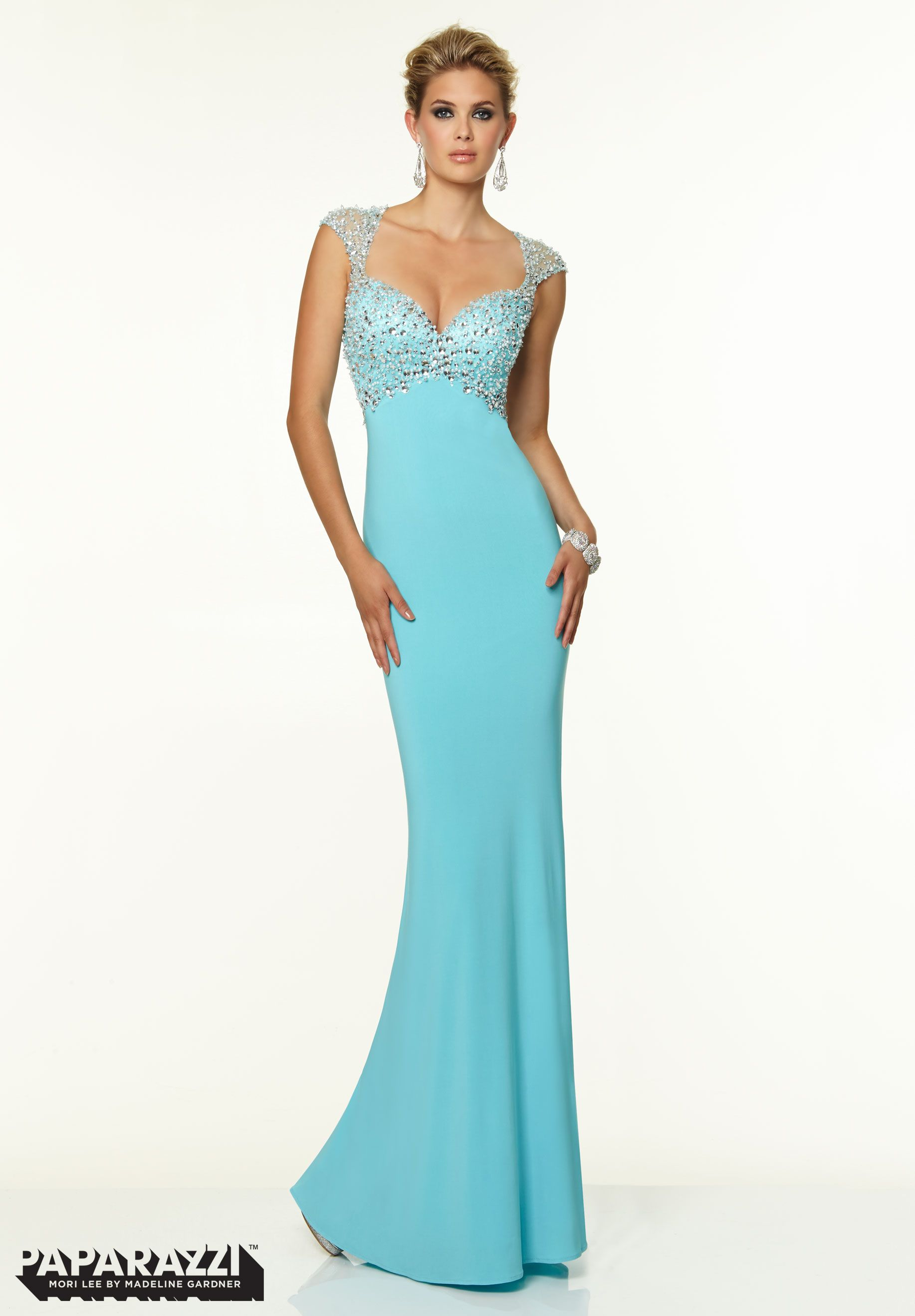 Prom Dresses Gowns Jersey with Crystal Beading Light Blue