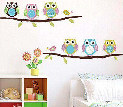 Kinderzimmer baby wände eule  Cartoon Kinderzimmer Schlafzimmer WÄnde gemalt dekorative ...