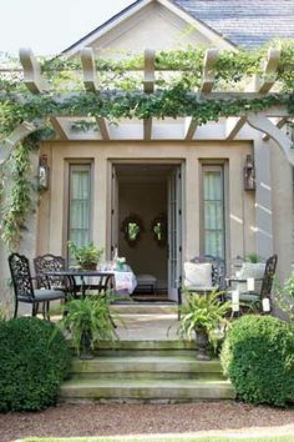 Pergola Patio, Front Porch Pergola, Front Porches, Back Patio, Small Patio, - Pin By Courtney H Design LLC On Pembroke Exterior Front Porch
