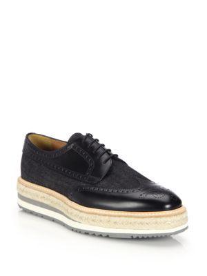 deb5051c465 PRADA Denim And Leather Creeper Brogue Platforms.  prada  shoes  flats