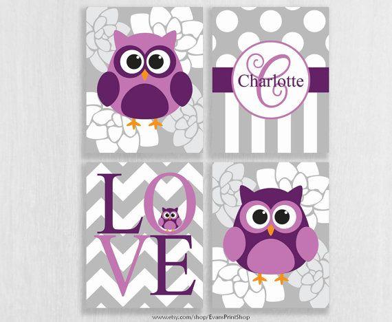Canvas Owl Nursery Decor Set Of 4 Purple Wall Art