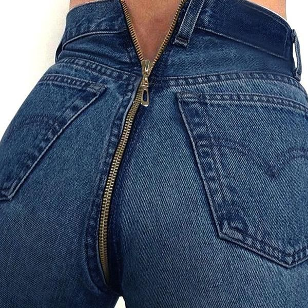 3d91a6bc884 Back Zipper Skinny High Waisted Jeans
