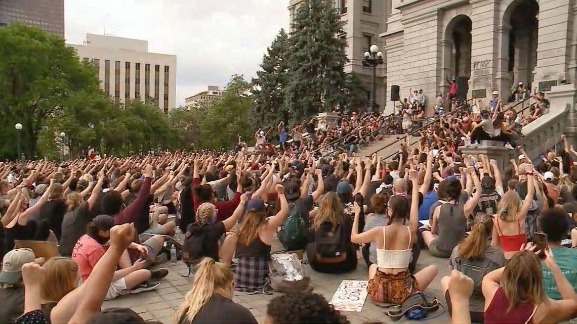 Broncos Lead Demonstration In Denver On 10th Day Of Colorado Protests Colorado Front Range Broncos