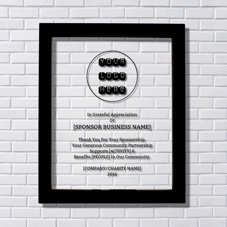 sponsor donor recognition award floating glass plaque framed
