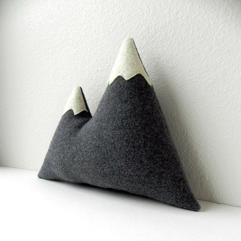 The Peaks wool mountain peak plush pillow by ThreeBadSeeds, $58.00 (Twin Peaks, David Lynch, Owl Cave)