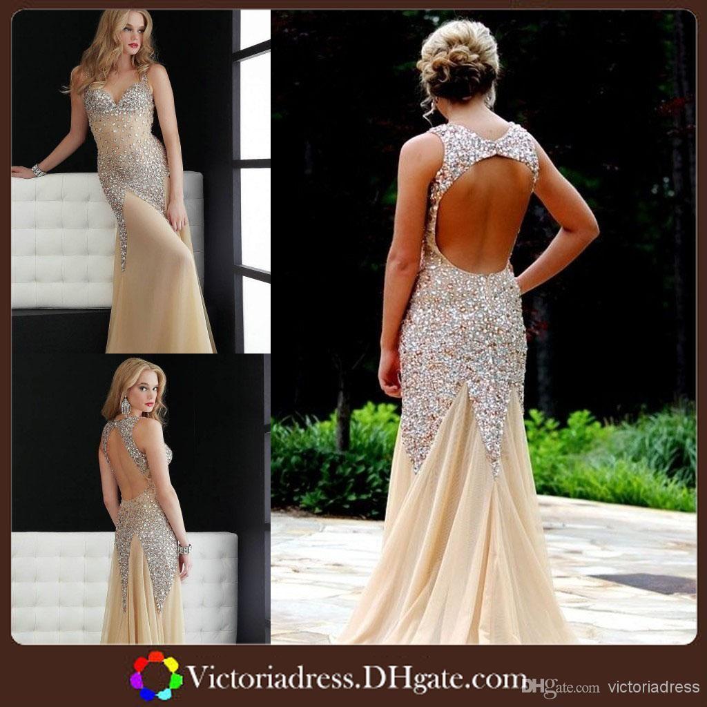 custom mermaid sexy long open back prom dresses beaded crystal