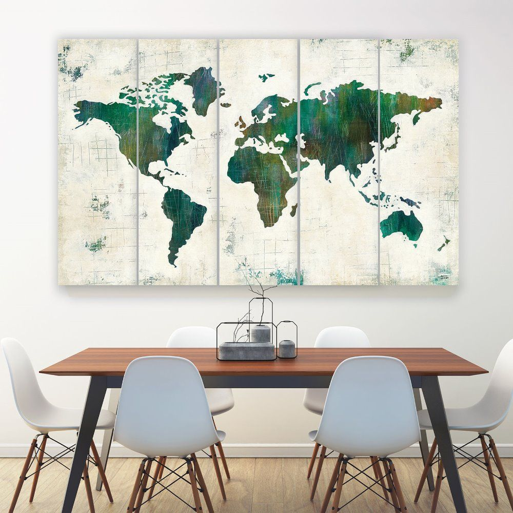 World map canvas art print large wall art world map art print for