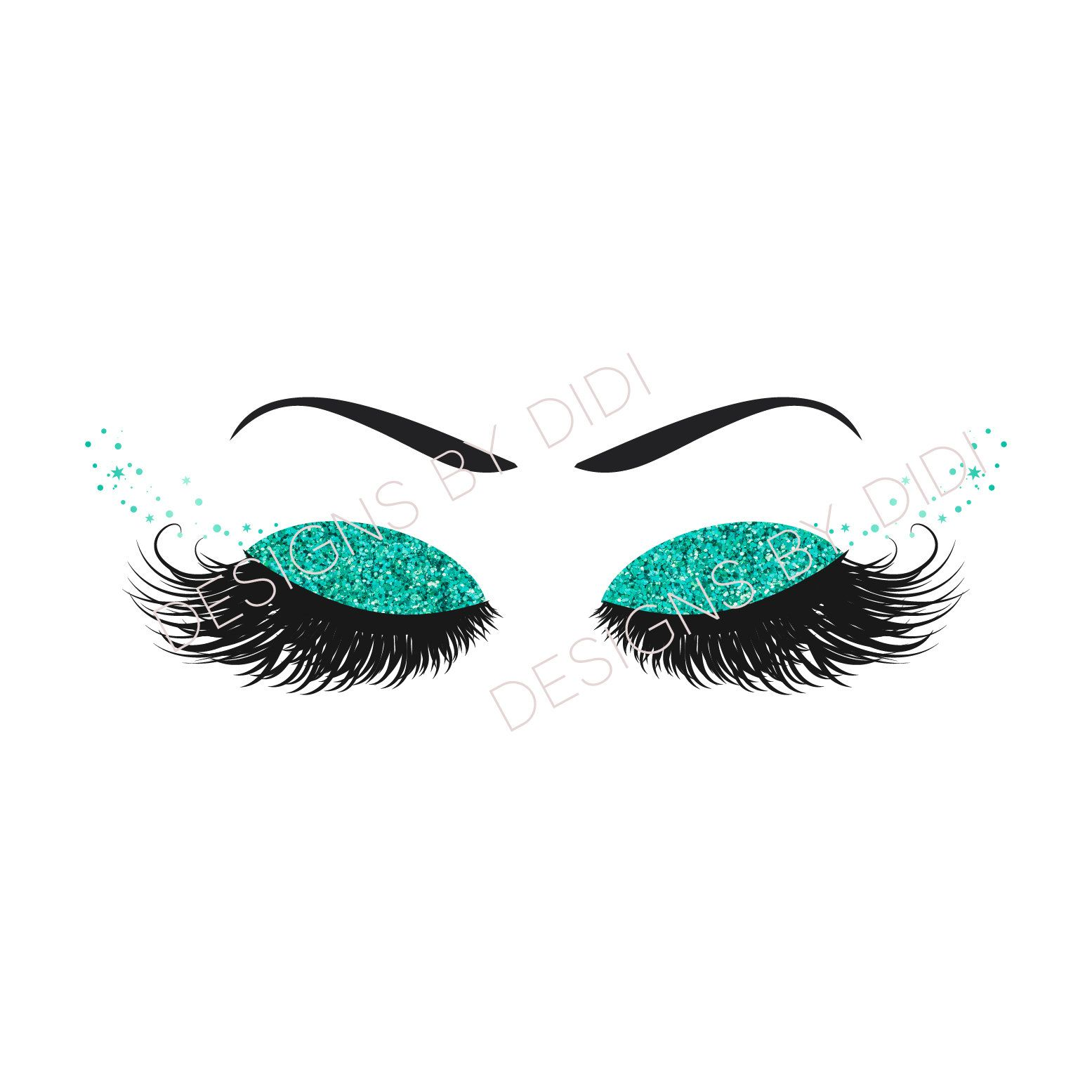 Instant Download Lash Clipart Glitter Teal Lashes Clip