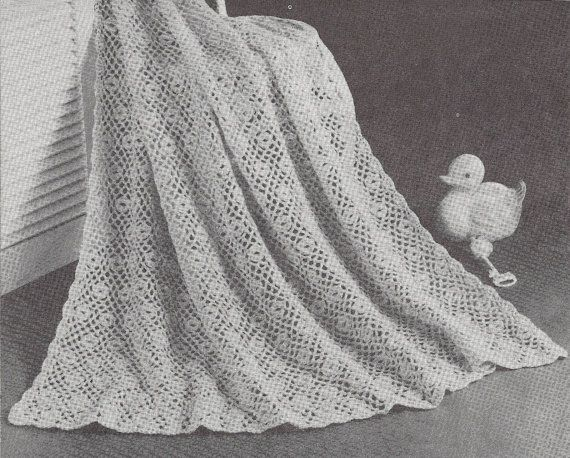 Flower Patch 1950s Crochet Baby Shawl Pattern Vintage 50s