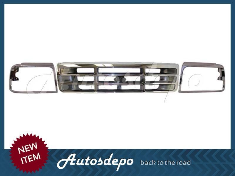 Bundle For 92 96 Ford F150 F250 Bronco Grille Headlight Door Chrome 3 Pcs Ebay Car Repair Diy F150 F250