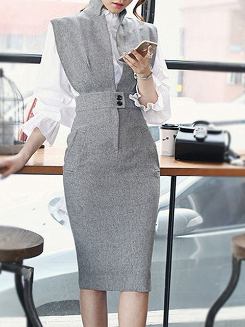 Buy Two-piece Set For Women from At.$$ at Stylewe. Online Shopping Stylewe Elegant Two-Piece Set For Women Red Gray Black Ruffled Slit Outfits, The Best Work Two-piece Set. Discover unique designers fashion at stylewe.com