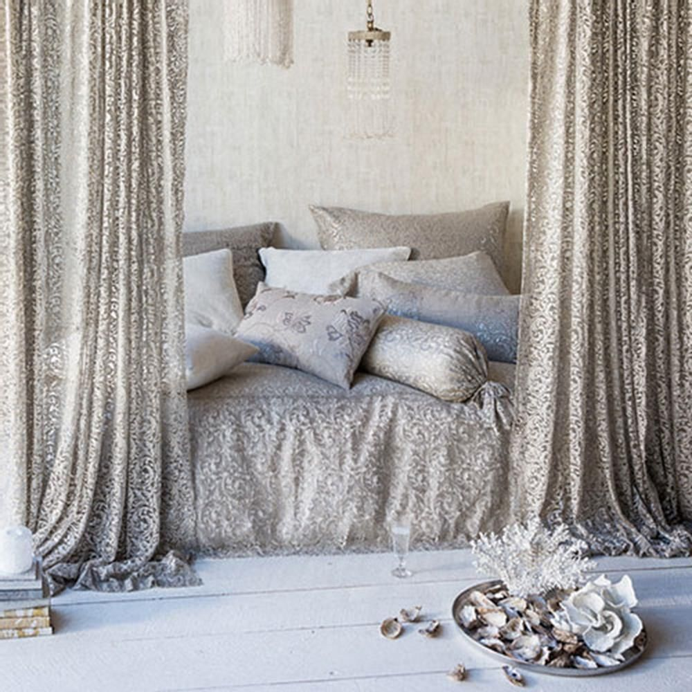 The Bella Notte Allegra Coverlet features a metallic swirling lace with a natural linen to produce a modern take on vintage style bedding. #PeaceLoveAndDecorating #InteriorDecor #PLD #coverlet #interiorstylist