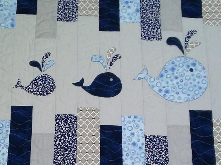 Free! whales on parade applique template craftsy baby quilt