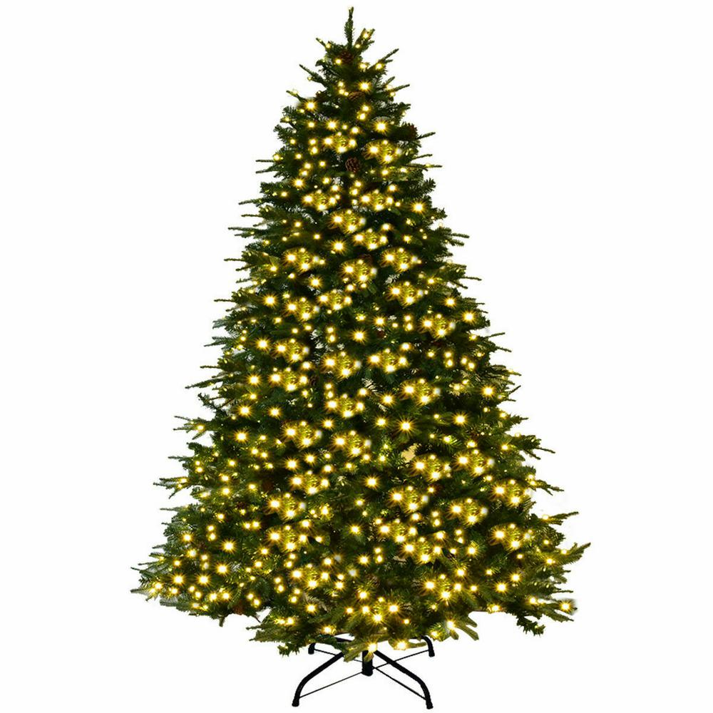 Costway 8ft Pre Lit Led Artificial Christmas Tree Hinged With 600 Led Lights And Pi Led Christmas Tree Lights Artificial Christmas Tree Christmas Tree Lighting