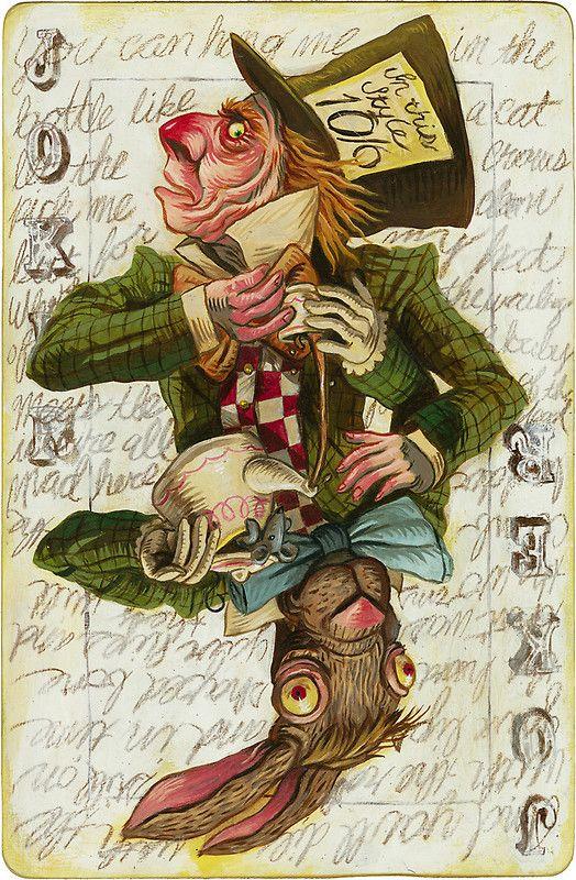 Mad Hatter Joker Card By Darickmaasen Redbubble Card Art Alice In Wonderland Wonderland