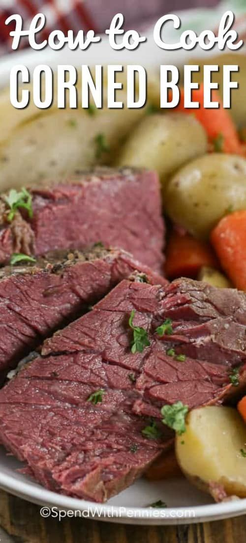 Corned beef is a delicious meal that is made extra easy by slow simmering it in a stock pot. Just add a side dish like mashed potatoes for the perfect easy dinner recipe!#spendwithpennies