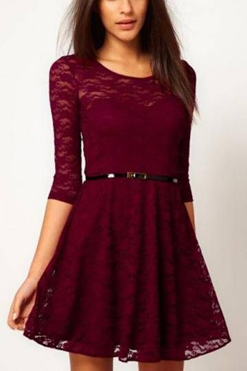 Burgundy Lace Skater Dress with Belt - US 19.95 -YOINS  eef36f64df56