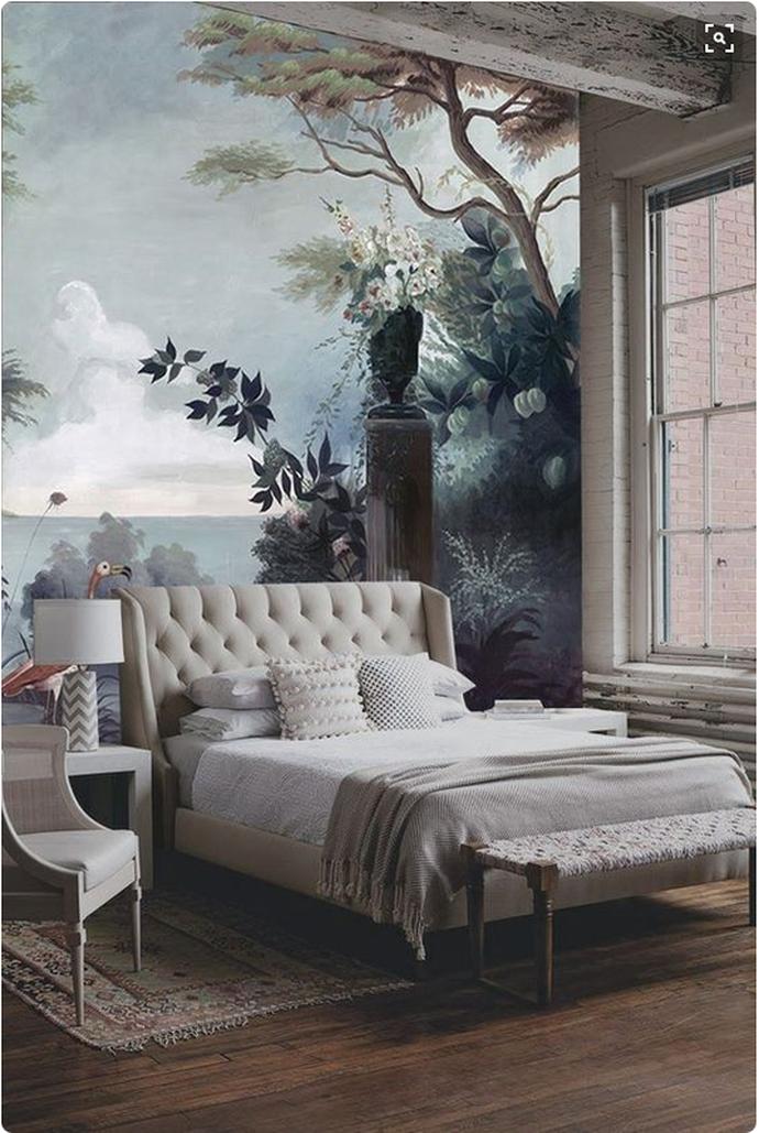 landscape mural wallpaper bedroom, tufted headboard, tufted bedlandscape mural wallpaper bedroom, tufted headboard, tufted bed, antique chair, exposed beams, exposed brick, industrial loft, high ceilings,