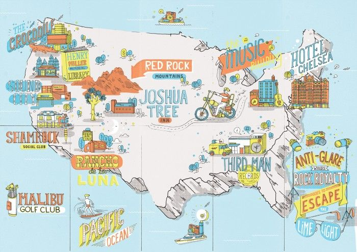 Foldable map of the USA for Raybans Escape the Limelight
