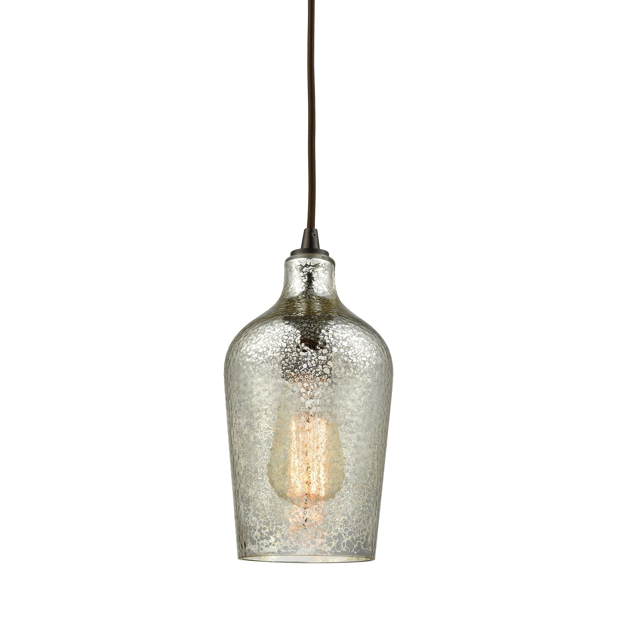 Hammered Glass Light Pendant In Oil Rubbed Bronze With Hammered