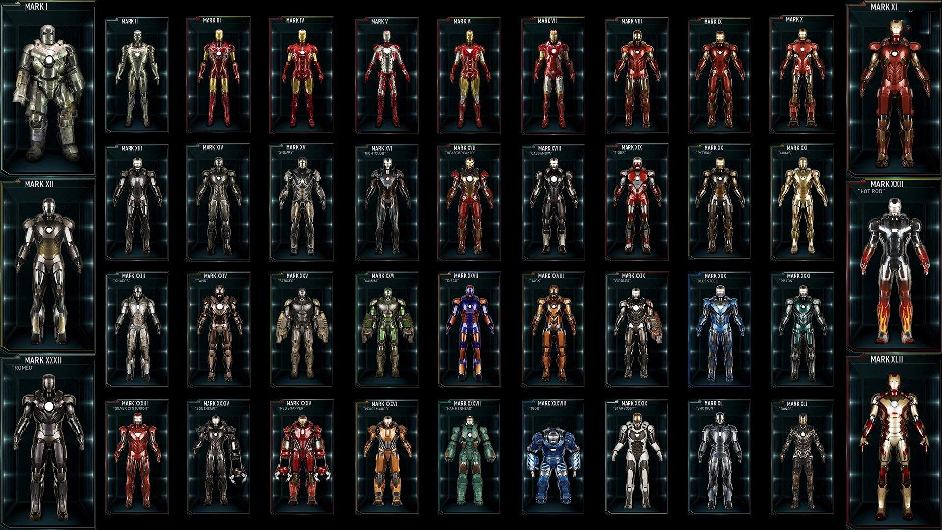 all iron man suits hd background stuff that i find mildly amusing