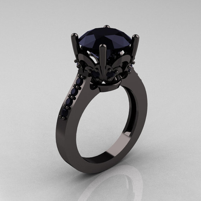 black diamond engagement ring im all about black gold and diamonds right - All Black Wedding Rings
