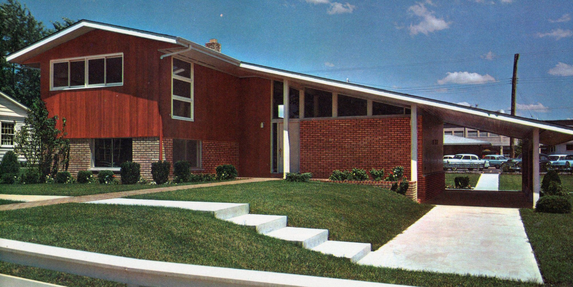 Mid century modern split level floor plans for Cost to build mid century modern home