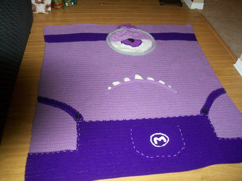 Purple Minion Blanket, Despicable Me Bedding, Crochet Blanket, Kids ...