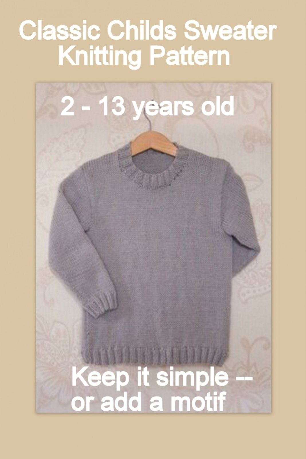 Photo of Classic style simple childs jumper childs sweater knitting pattern 2 – years old