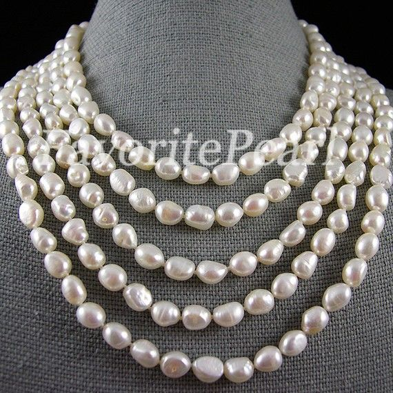 Pearl Necklace  100Inch 885mm AA White Color by FavoriteJewellery, $39.00