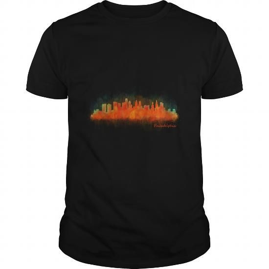Philadelphia City Pennsylvania Skyline in watercolor v04 america patriot USA t shirt