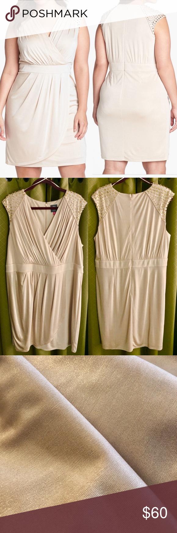 Vince Camuto Champagne Cocktail Dress 18w Plus Champagne Cocktail Dress Dresses Faux Wrap Dress [ 1740 x 580 Pixel ]