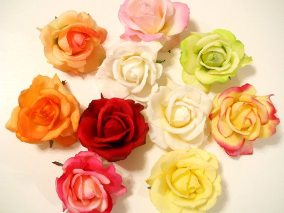 rose hair clipreal touch rainbow of colors in white ivory