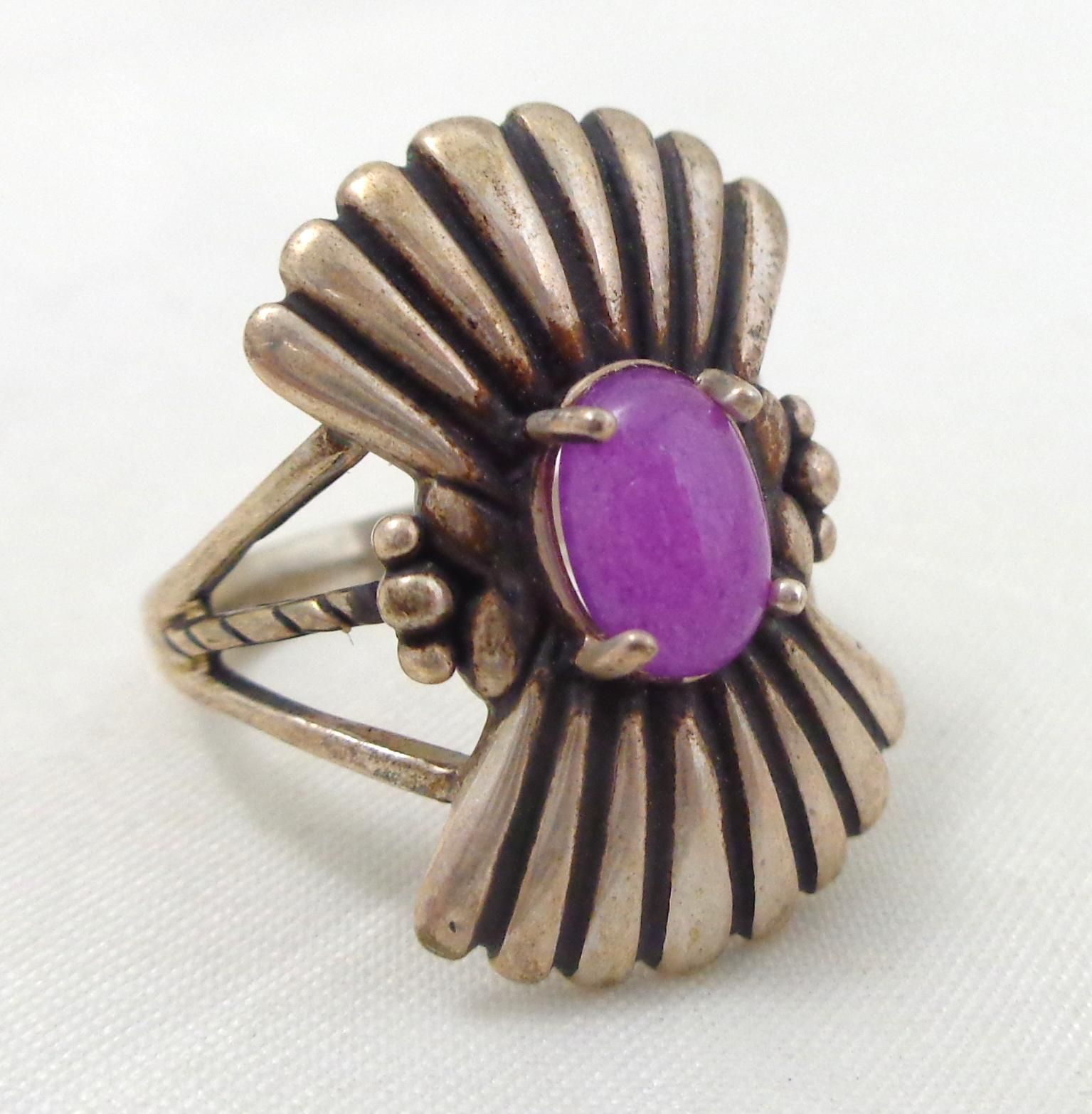 Estate Sterling Silver Purple Stone Ring Sz 8 from riverroadcollectibles on Ruby Lane