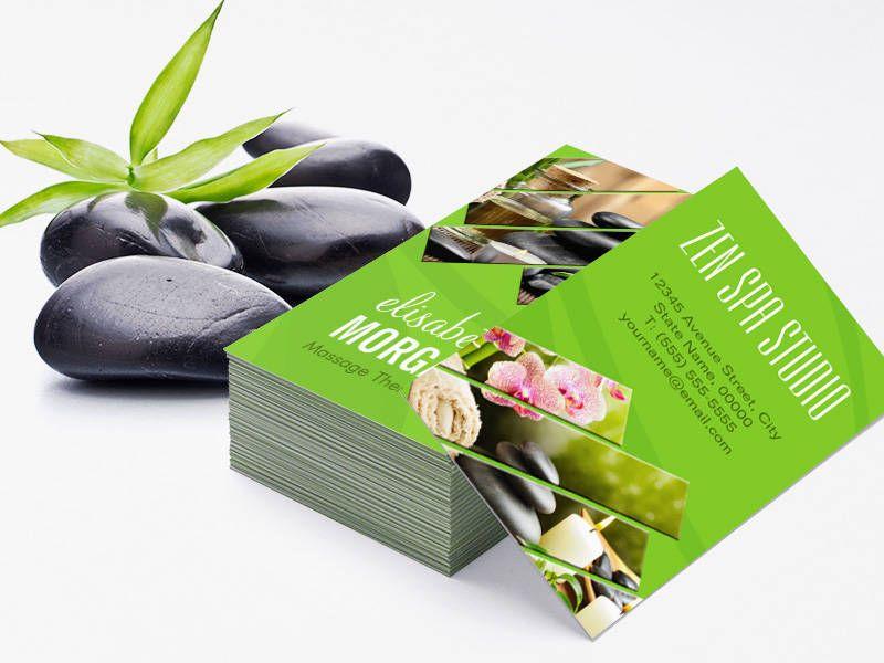 Green Chic Zen Spa Wellness Massage Therapist Business Cards ...