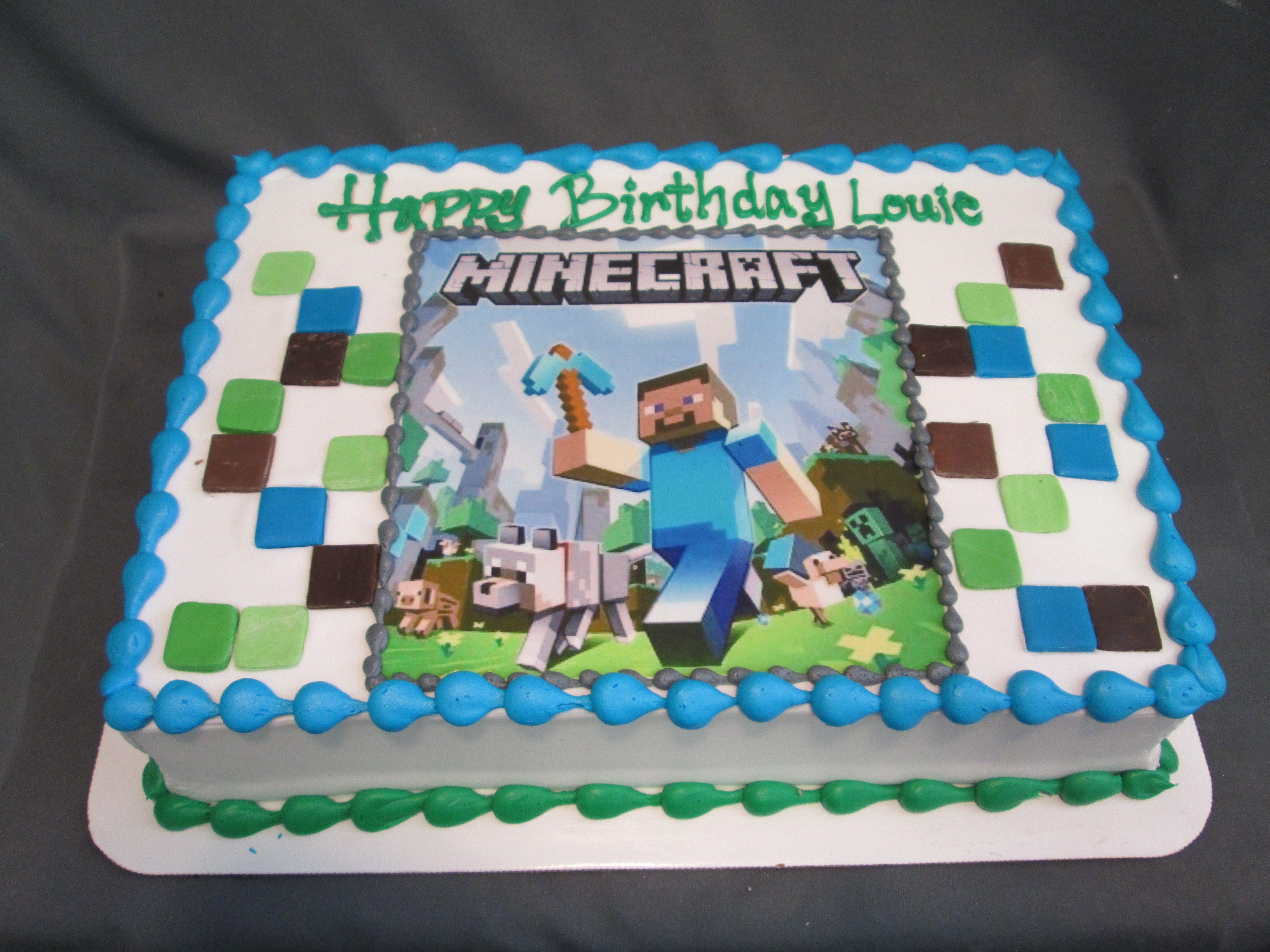 Minecraft Birthday Sheet Cake Sugarshackscia Minecraft Birthday