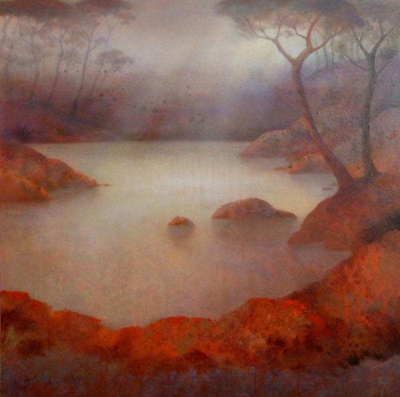 Berges incandescentes - 2012 - Acrylique sur toile -100x100 Claire Degans