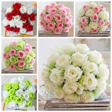 Only us1388 shop 18 heads artificial silk rose flowers wedding 18 heads artificial silk rose flowers wedding bride bonquet home bedroom decoration junglespirit Gallery